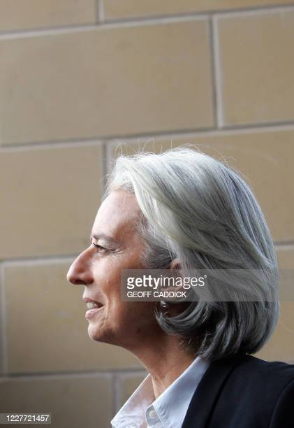 French Finance Minister Christine Lagarde arrives at the South Lodge Hotel in Horsham West Sussex ahead of the G20 Finance Ministers Meeting on March...