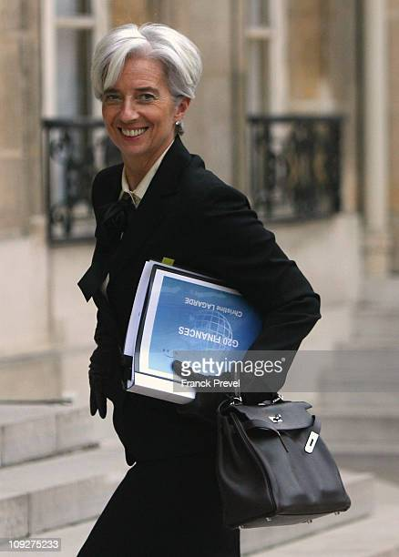 French Finance Minister Christine Lagarde arrives before a meeting with French President Nicolas Sarkozy at Elysee Palace on February 18 2011 in...