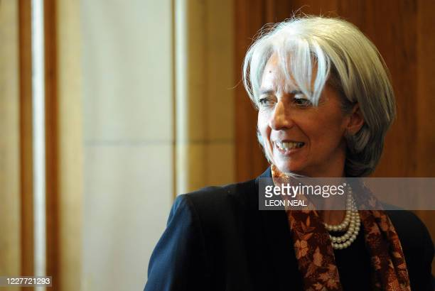 French Finance Minister Christine Lagarde is pictured after the G20 Finance Ministers meeting at the South Lodge Hotel in Horsham West Sussex on...