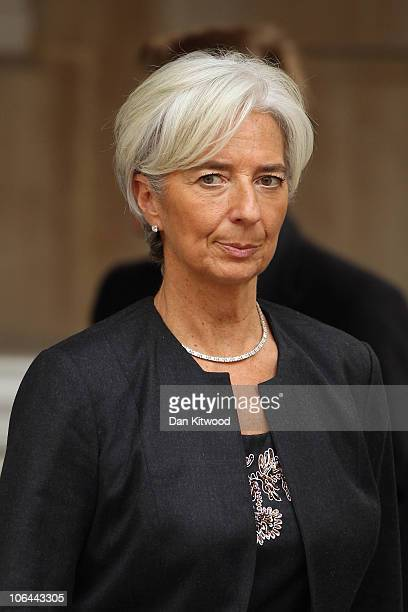 French finance minister Christine Lagarde leaves Lancaster House on November 2 2010 in London England Prime Minister David Cameron and French...