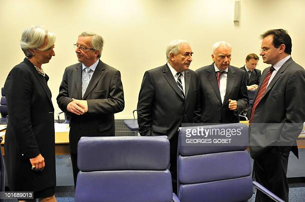 French Finance Minister Christine Lagarde Luxembourg Prime Minister and Eurogroup president JeanClaude Juncker International Monetary Fund chairman...