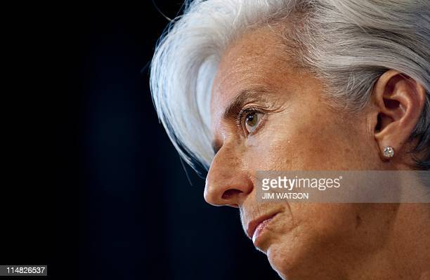 French Finance Minister Christine Lagarde speaks during a press briefing ahead of the 2011 IMF/World Bank Spring meetings at the International...