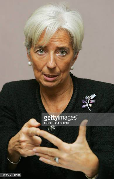 French Finance Minister Christine Lagarde speaks to the media following the G20 Finance Ministers meeting in St Andrews in Scotland on November 7...