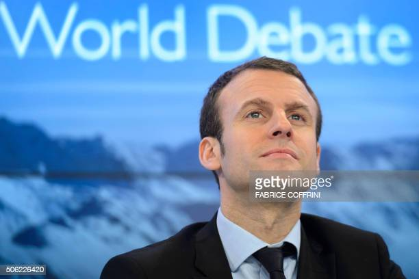 French Finance Minister Emmanuel Macron gestures during a session at the World Economic Forum annual meeting in Davos on January 22 2016 / AFP /...