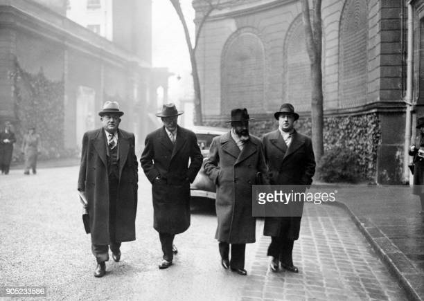 French finance minister Vincent Auriol French Socialist Prime Minister Leon Blum Minister of the Interior Marx Dormoy and undersecretary François de...