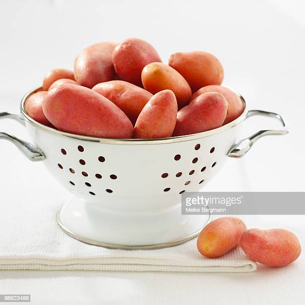 french fingerling potatoes - colander stock photos and pictures