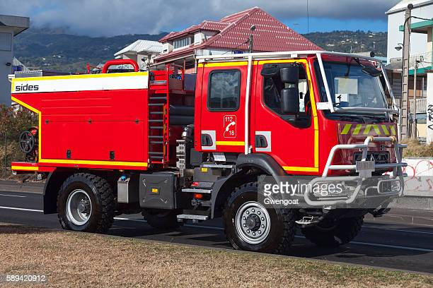 french fire truck - gwengoat stock pictures, royalty-free photos & images