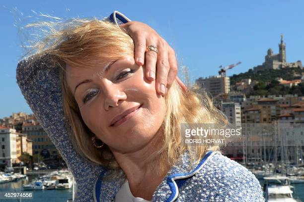 French first division L1 football club Olympique de Marseille's owner Margarita LouisDreyfus poses after signing a contract with local authorities on...