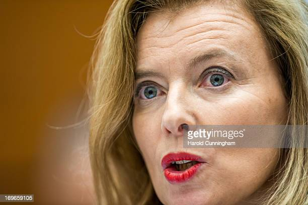 French First Lady and Fondation France Libertes Ambassador Valerie Trierweiler delivers a speech during an appeal to end the Human Rights impunity in...