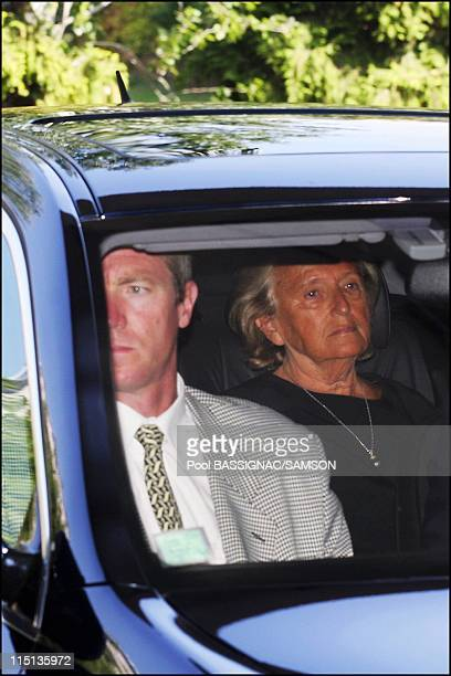 French first lady Bernadette Chirac leaves Val de Grace military hospital after visiting husband Jacques Chirac in Paris France on September 04 2005...