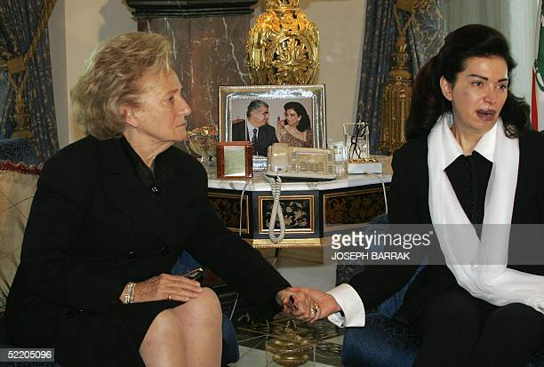 French First Lady Bernadette Chirac offers her condolences to Nazek Hariri the wife of slain Lebanese former prime minister Rafiq Hariri at her...