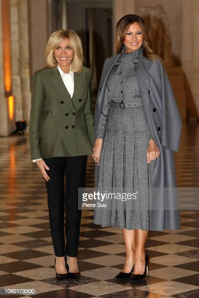 French first Lady Brigitte Macron and American First Lady Melania Trump attend the Head Of States partner's Luncheon that attended the celebration of...