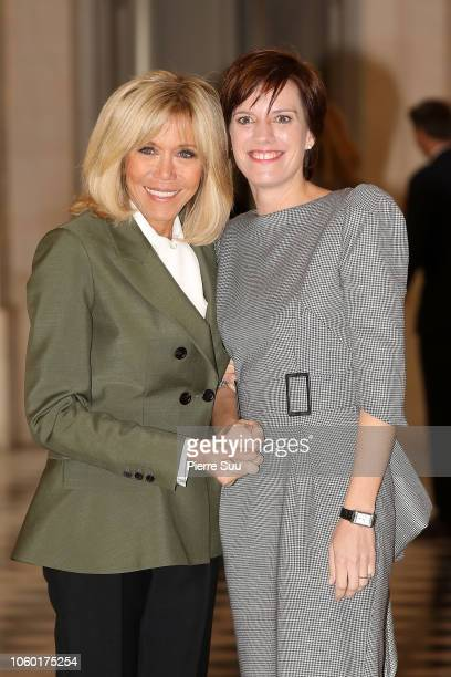 French First Lady Brigitte Macron and Belgian First Lady Amelie Derbaudrenghien attend the Head of State's Partners Luncheon after the International...