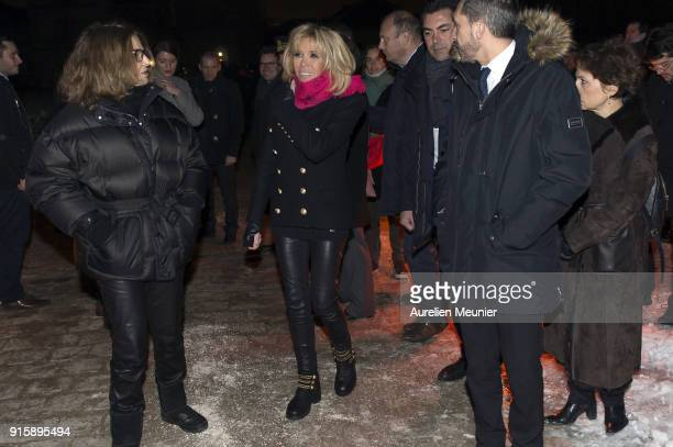 "French First Lady Brigitte Macron and Bettina Rheims attend the ""Detenus"" Bettina Rheims exhibition opening at Chateau De Vincennes on February 8,..."