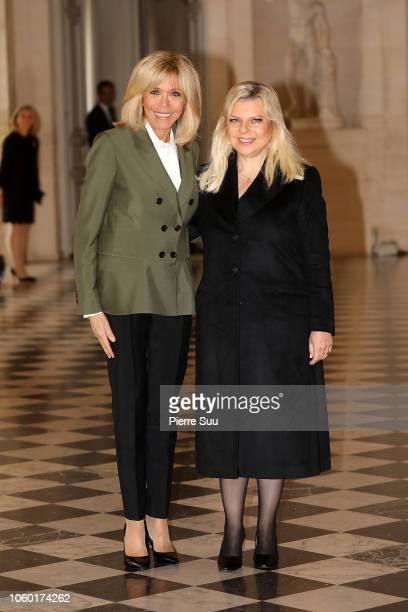 French First Lady Brigitte Macron and Israel's First Lady Sara Netanyahu attend the Head of States' Partners Luncheon after the International...
