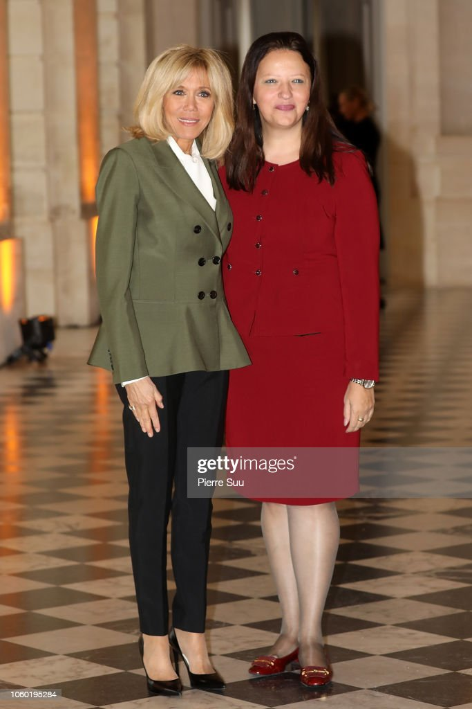 French President's Wife Brigite Macron Welcomes Head Of States' Partners At Chateau De Versailles : News Photo