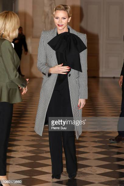 French First Lady Brigitte Macron and Princess Charlene of Monaco attend the Head of State's Partner Luncheon after the International Ceremony of the...