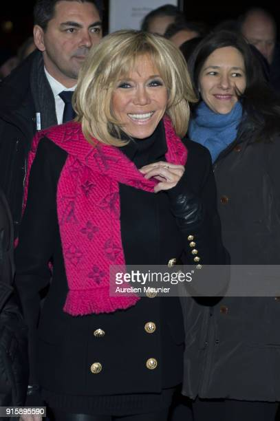 French First Lady Brigitte Macron attends the 'Detenus' Bettina Rheims exhibition opening at Chateau De Vincennes on February 8 2018 in Paris France