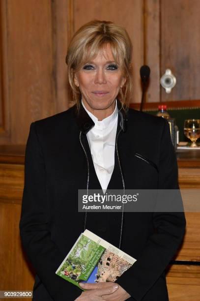 French First Lady Brigitte Macron attends the Prix Histoire et Prix Patrimoine 2017 de La Fondation Stephane Bern at Institut de France on January 11...
