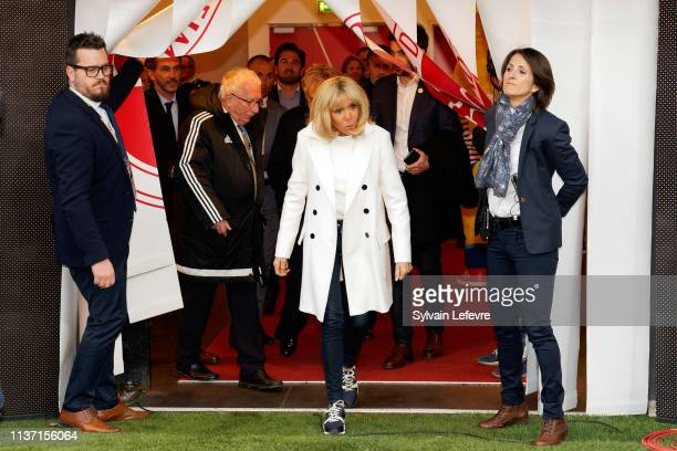 French First Lady Brigitte Macron attends the Varietes Club De France Vs Reims Charity Match on March 20 2019 in Reims France
