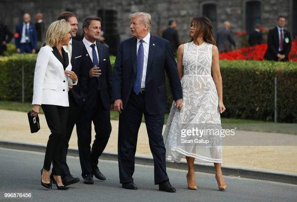 French First Lady Brigitte Macron Gauthier Destenay Luxembourg Prime Minister Xavier Bettel US President Donald Trump and US First Lady Melania Trump...
