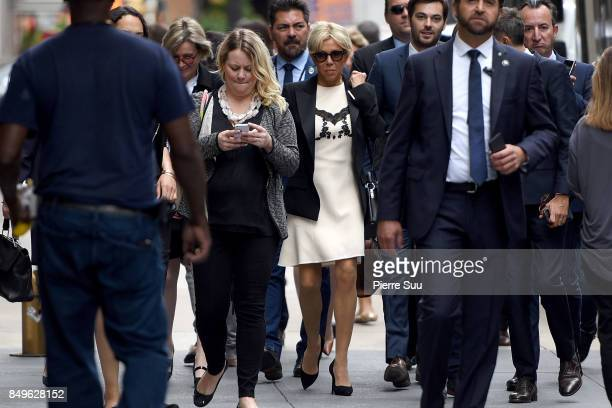 French First Lady Brigitte Macron is seen walking to the United Nations Headquarter on September 19 2017 in New York City