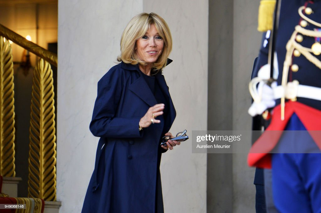 Brigitte Macron Leaves Elysee Palace To Attend Tibute To Fallen Police Officer Xavier Jugele