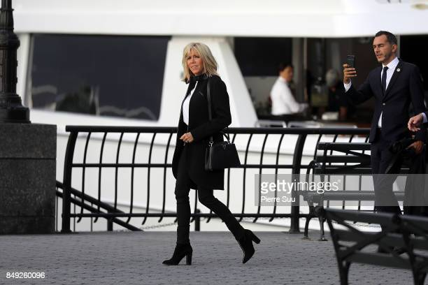 French First Lady Brigitte Macron Takes a Walk along the Hudson River while visiting Ground Zero on September 18 2017 in New York City