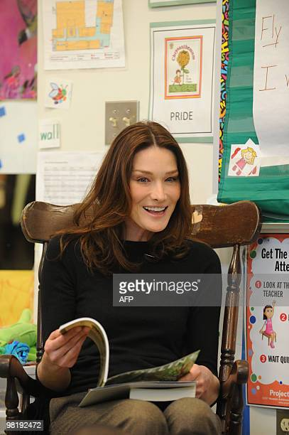 French First Lady Carla Bruni Sarkozy visits at a KIPP school a school for underprivileged pupils on March 30 2010 in Washington DC AFP...