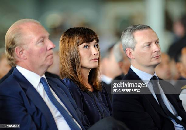 French First Lady Carla BruniSarkozy France's Interior Minister Brice Hortefeux and France's Agriculture Food Fisheries and Land Management Minister...