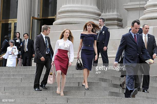 French First lady Carla Bruni-Sarkozy leaves with her half-sister Consuelo Remmert the Metroplitain Museum after attending the First Lady lunch for...
