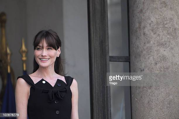 French First lady Carla BruniSarkozy waits to welcome the first ladies of 10 African countries for a meeting at the Elysee palace in Paris on July 13...