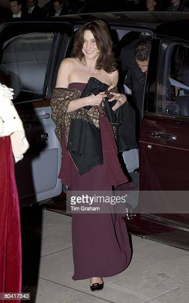 French First Lady Madame Carla BruniSarkozy arrives for a State Banquet at the Guildhall hosted by The Lord Mayor and Corporation of London on the...