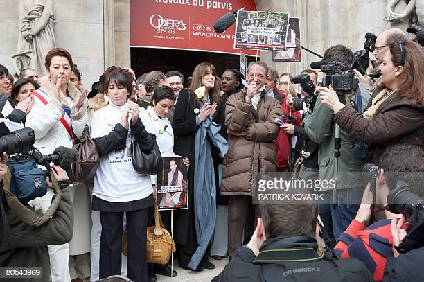 French first wife Carla Bruni-Sarkozy and Paris' mayor Bertrand Delanoe and Astrid Betancourt the sister of French Colombian hostage Ingrid...