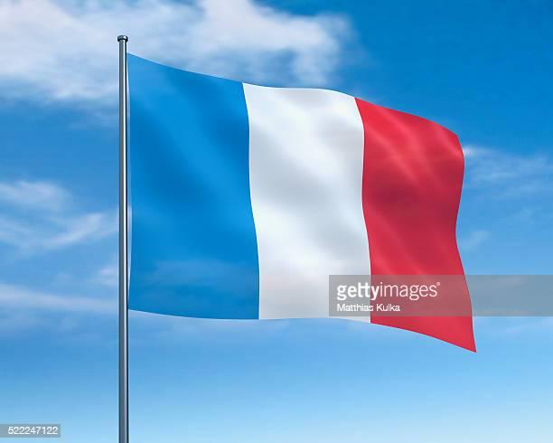 french flag against cloudy sky - franse vlag stockfoto's en -beelden