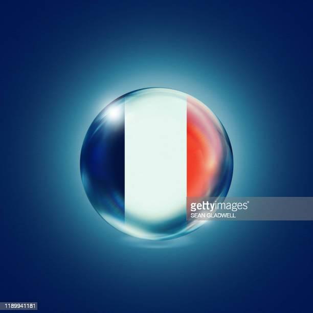 french flag crystal ball - franse vlag stockfoto's en -beelden