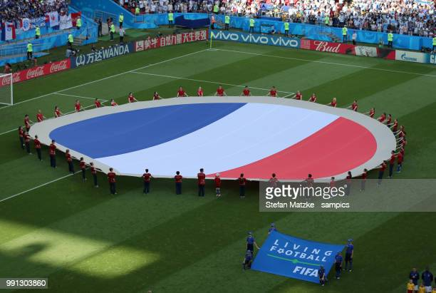 French Flag during the 2018 FIFA World Cup Russia Round of 16 match between France and Argentina at Kazan Arena on June 30 2018 in Kazan Russia