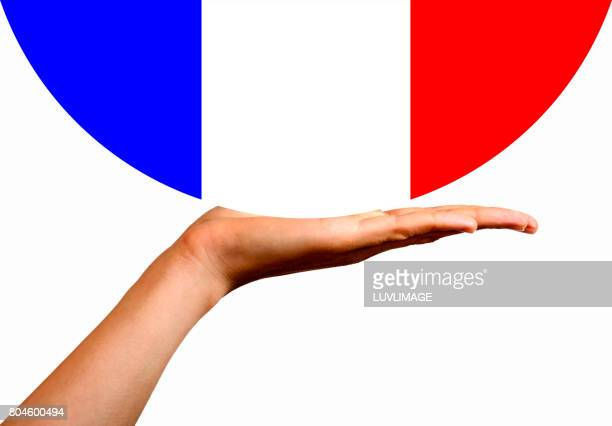 French Flag in the palm of a hand.