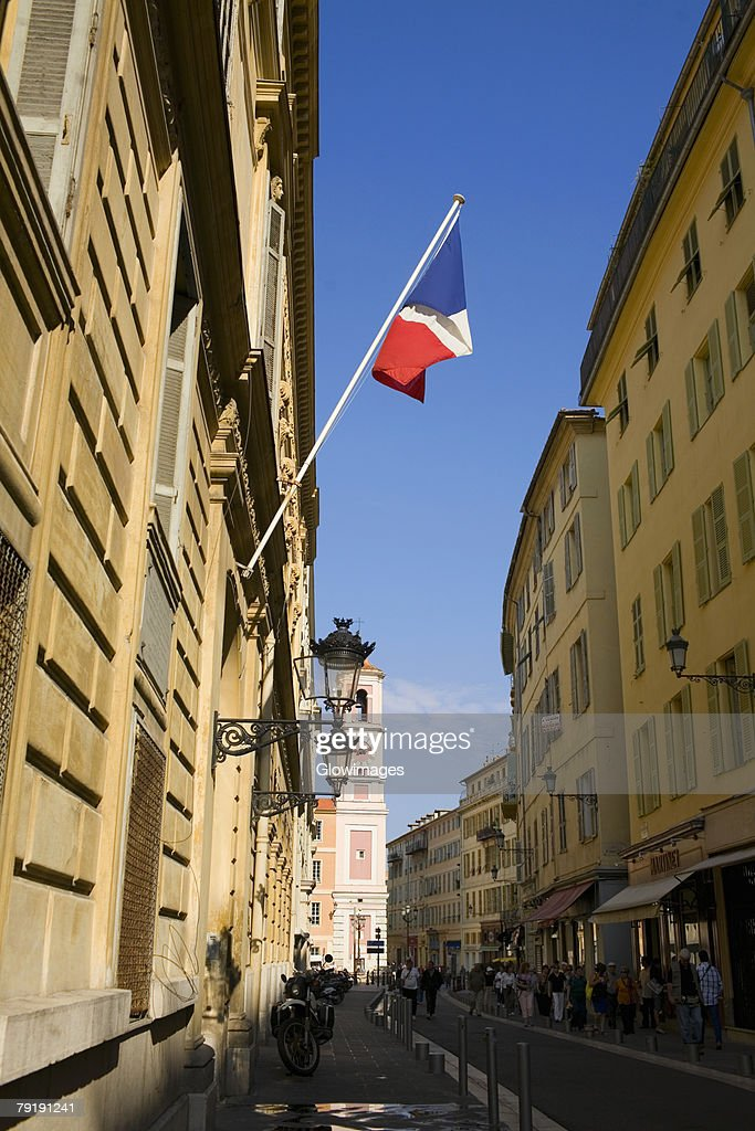 French flag on a building, Nice, France : Foto de stock