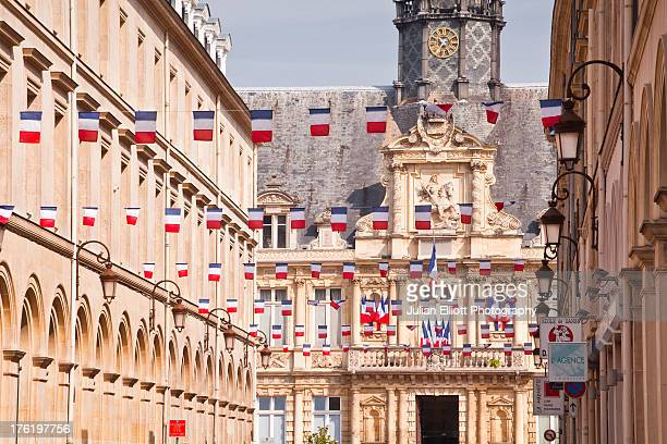French flags flying in the city of Reims.