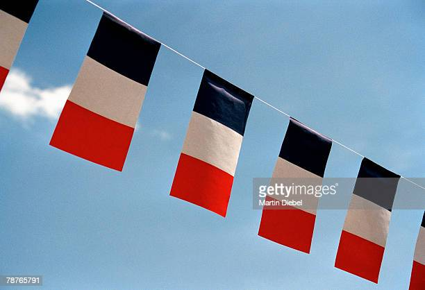 french flags hanging in a row on string - drapeau français photos et images de collection