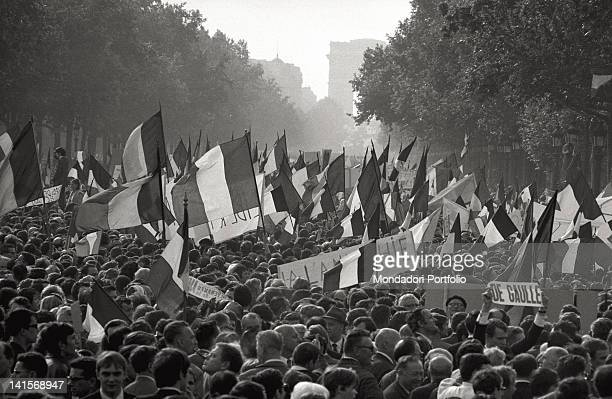 French flags on the ChampsElysTes in a demonstration of De Gaulle supporters after the decision of the President of the French Republic to dissolve...