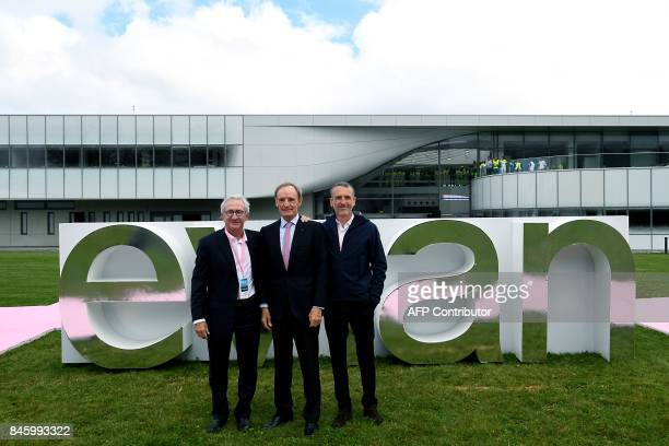French food group Danone CEO President Franck Riboud, former French World Cup alpine ski racer Jean Claude Killy, Danone CEO Emmanuel Faber pose...