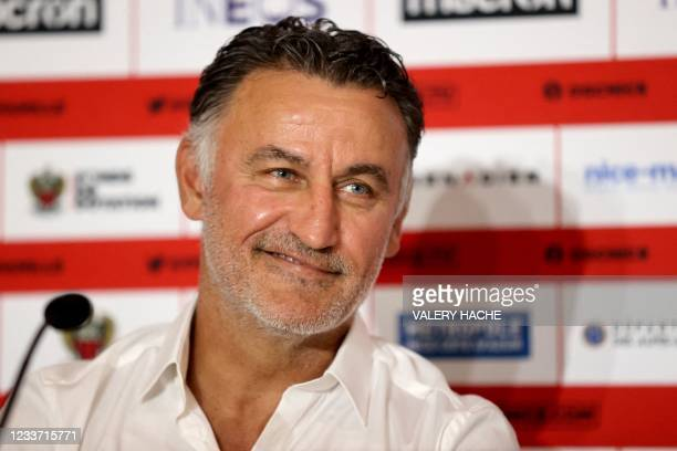 French football coach Christophe Galtier smiles during his official presentation to the press as French L1 football club OGC Nice's new head coach in...