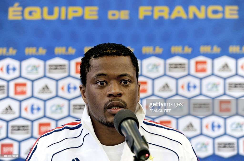 French football defender Patrice Evra speaks during a press conference in Tignes in the French Alps on May 18, 2010. The French team started in Tignes its preparation for the upcoming FIFA 2010 World Cup. France will play Uruguay in Capetown in its group A opener match on June 11.