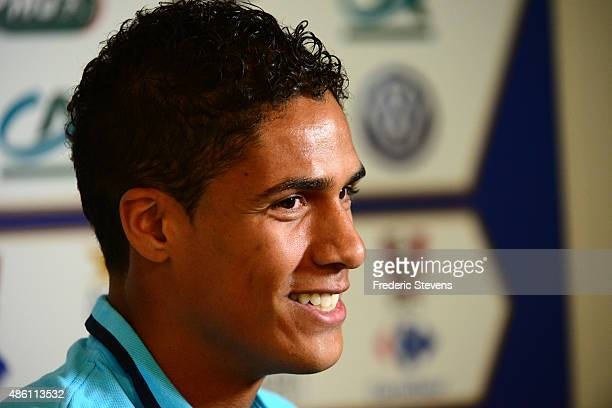 French football defender Raphael Varane gives a press conference at the French National Football Team Centre in ClairefontaineenYvelineson August 31...