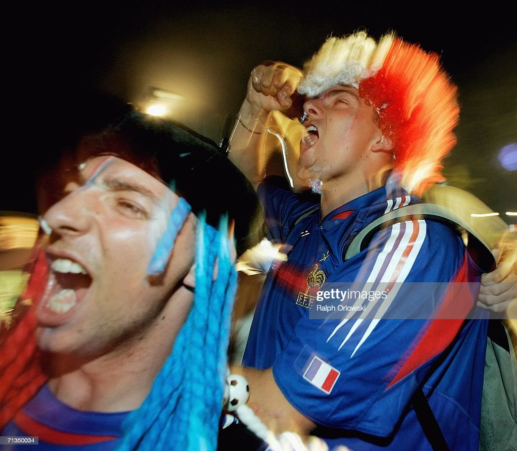 French football fans celebrate on July 1, 2006 in Frankfurt, Germany. France won their FIFA World Cup 2006 quarter final match against Brazil 1-0 in Frankfurt.