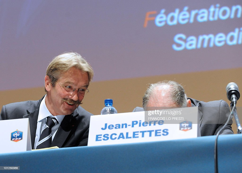 French Football Federation (FFF) president Jean-Pierre Escalettes (R) and French Professional Football League (LFP) president Frederic Thiriez (L) take part in a meeting of the FFF's federal assembly in the French northern city of Lille on May 29, 2010. France were unveiled as hosts of Euro 2016 by UEFA president Michel Platini yesterday, the French bid beating off strong opposition from the two other candidates - Turkey and Italy.