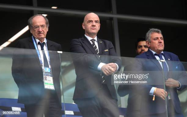 French Football Federation president Noel Le Graet and FIFA president Gianni Infantino look on during the 2018 FIFA World Cup Russia Quarter Final...