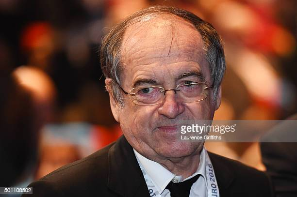 French Football Federation president Noel Le Graet attends the UEFA Euro 2016 Final Draw Ceremony at Palais des Congres on December 12 2015 in Paris...